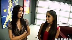 Three babes look at a new car and trade some pussy to get it