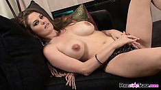 Big tit brunette Allison Moore does a striptease and goes for her cunt