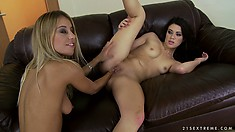 Sexy brunette Tiffany Doll gets her sweet ass fisted by her blonde gal pal