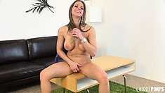Rachel Roxx cannot settle upon the sofa or table to anoint with her juices