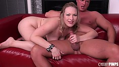 She's toying hard and gets a cock to chew on and take a ride on