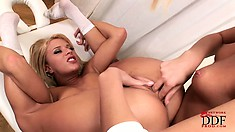 Kinky young blondies are in the mood for a lesbian pissing sex adventure