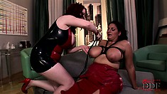 Brunette MILF with humongous tits gets the bound by her mistress