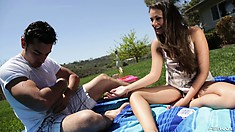 In the outdoors, a gorgeous slender brunette enjoys her time with Ryan Driller