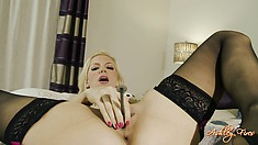 Horny blonde fingers and toys her twat and he jacks off on her