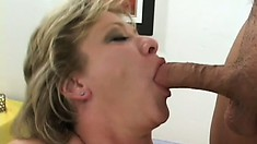 The naughty lady gets pounded like she desires and welcomes their cum in her mouth
