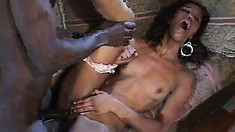 Yummy ebony Misty Stone bounces her fine ass and eats his meat