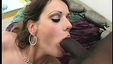 Hot brunette with tiny tits Amber drills her ass with a dildo and sucks a black cock