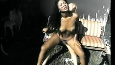 Banging black tranny takes a sexy ride on a hung blonde shemale
