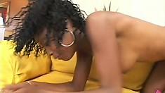 Ebony cutie Hydie Waters loves to have his stiff black rod deep inside her peach