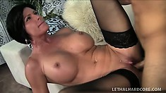 Stacked brunette milf in black stockings Shay Fox has a young stud banging her cunt