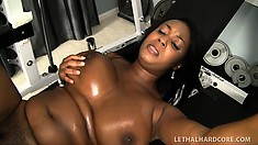 Huge black bitch tries to get in shape by banging her white coach