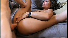 Naughty mature lady spreads her legs and a young stud fucks her needy holes deep