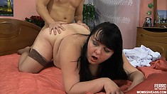 Pregnant chubby Angela M is getting drilled from behind by Nicholas
