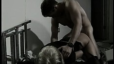 Saucy blonde bends over and lets a dude screw her from behind