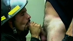 Cop and fireman give each other head in the break room and fuck some butt