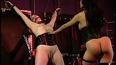 Gorgeous slave moans under her lesbian mistress' sadistic touch