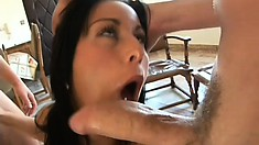 Wild brunette with perfect tits has three hard cocks banging her holes