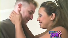 Pretty blonde with pigtails goes on a blind date and gets fucked hard
