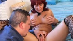 Busty redhead milf Andrea has a tight peach longing for a hard fucking