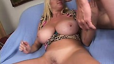 Giant tit blonde Penny Porsche blows, gets fucked and vibrates her clit
