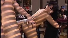 Asian hottie Avena Lee sucks a cock and gets fucked hard in the cafe