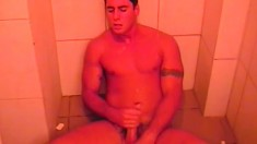 Hunky dude Ricco Dkados strokes his long shaft in the shower